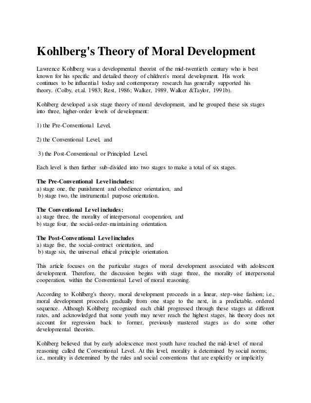 dr kohlberg and the theory of moral stages Application of moral development 1 application of kohlberg's theory of moral  2 application of kohlberg's theory of  morals in stages,.