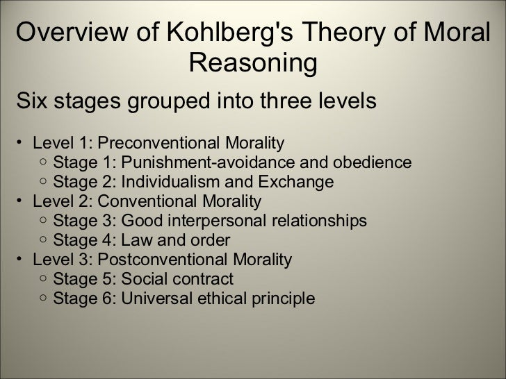 kohlbergs stages of moral development essay It is true that the research of lawrence kohlberg was focused around the concept of moral reasoning, which also can be called moral development (answer 1.