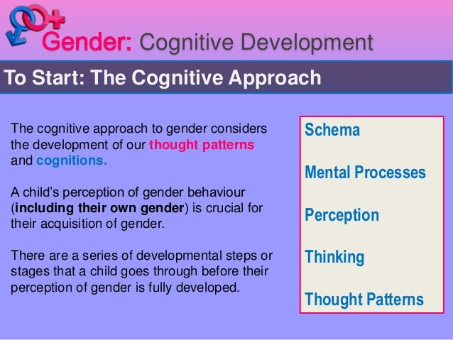 """cognitive approach to gender Case studies of individuals who underwent gender """"reassignment"""" and  individuals who  the cognitive perspective on gender development is  concerned with."""