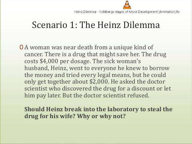 heinz dilemma A woman was near death from a special kind of cancer there was one drug that the doctors thought might save her it was a form of radium that a druggist in the same town had recently discovered.
