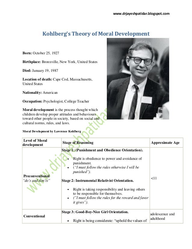 kohlbergs moral development Wc crain (1985) theories of development prentice-hall pp 118-136 chapter seven kohlberg's stages of moral development biographical introduction.