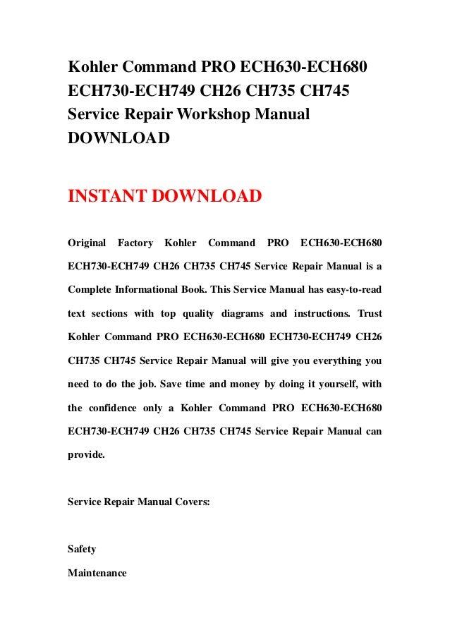 Kohler command 26 manual