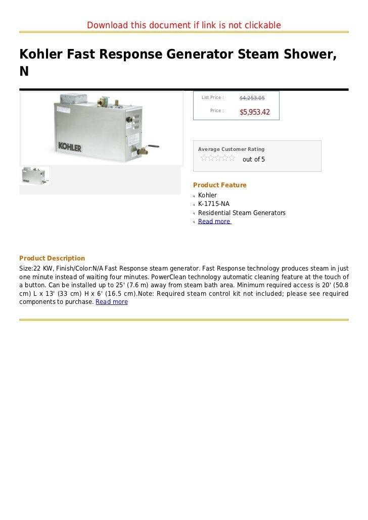 Kohler fast response generator steam shower, n