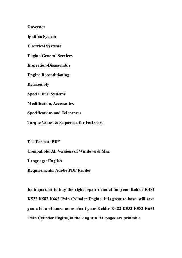 Kohler k482 k532 k582 k662 twin cylinder engine service ... on