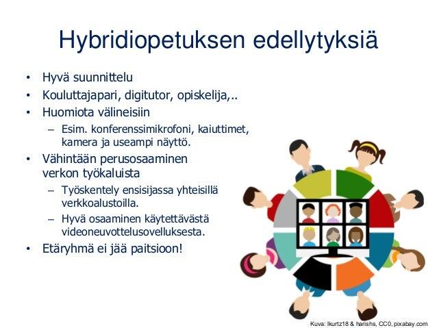 Hybridiopetuksen edellytyksiä • Hyvä suunnittelu • Kouluttajapari, digitutor, opiskelija,.. • Huomiota välineisiin – Esim....
