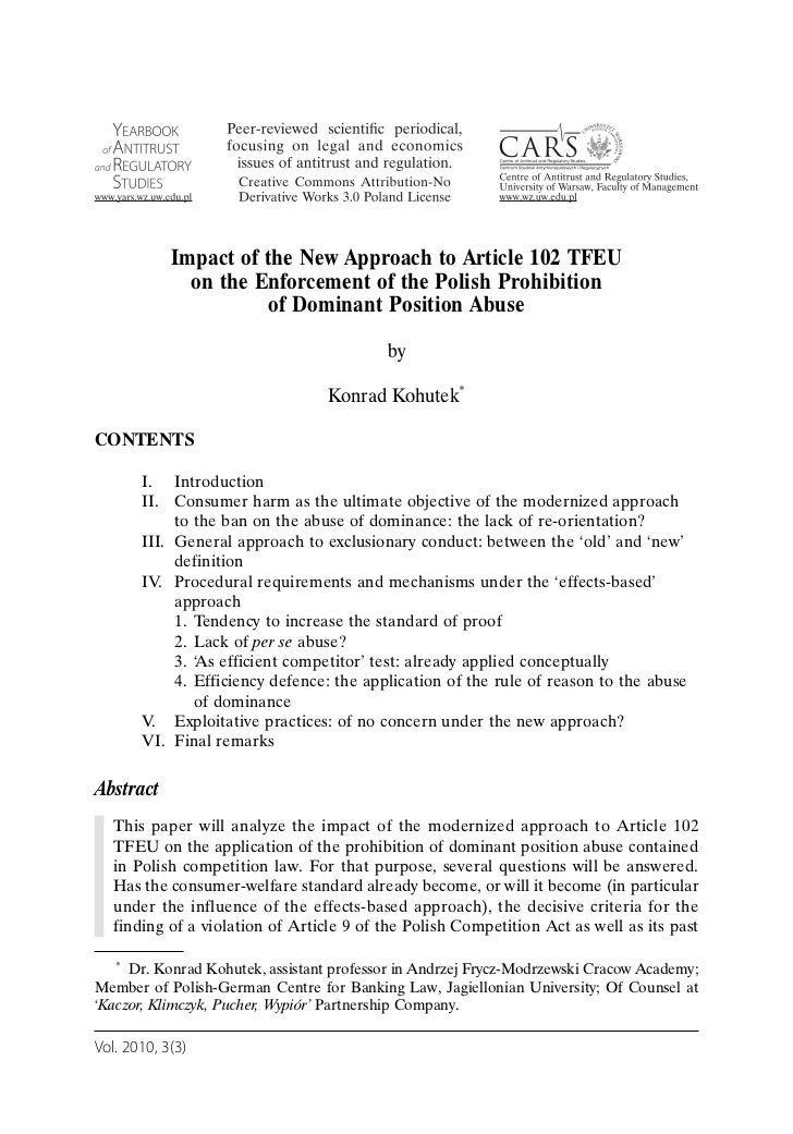 Impact of the New Approach to Article 102 TFEU              on the Enforcement of the Polish Prohibition                  ...