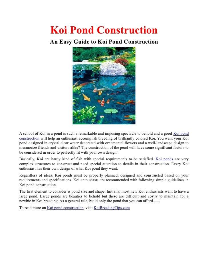 Koi pond construction for Koi pond construction guide