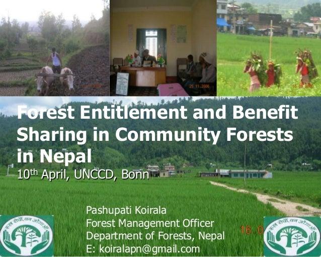 Benefit Sharing in CommunityForest Entitlement and Benefit         Forests in NepalSharing in Community Forestsin Nepal Pa...