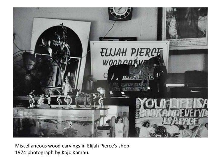 Miscellaneous wood carvings in Elijah Pierce's shop.1974 photograph by Kojo Kamau.