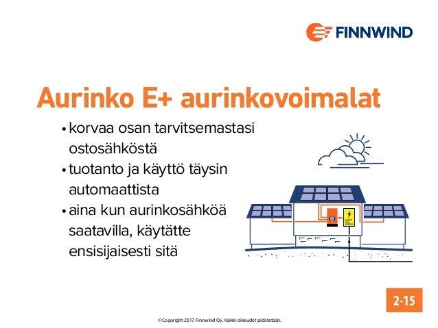 Aurinko E+ aurinkovoimalat •korvaa osan tarvitsemastasi ostosähköstä •tuotanto ja käyttö täysin automaattista •aina kun...