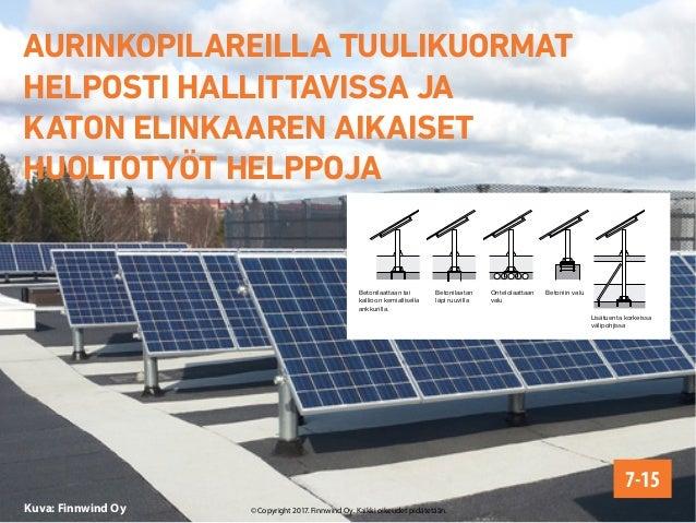 Kuva: Finnwind Oy AURINKOPILAREILLA TUULIKUORMAT HELPOSTI HALLITTAVISSA JA KATON ELINKAAREN AIKAISET HUOLTOTYÖT HELPPOJA 7...