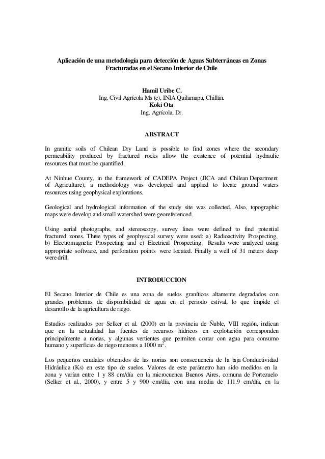 Aplicación de una metodología para detección de Aguas Subterráneas en Zonas Fracturadas en el Secano Interior de Chile Ham...