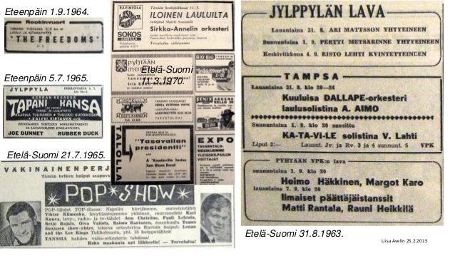 Etelä-Suomi 21.7.1965. Etelä-Suomi 11.3.1970. Etelä-Suomi 31.8.1963. Eteenpäin 1.9.1964. Eteenpäin 5.7.1965. Liisa Avelin ...