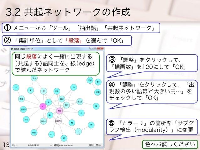 3.2 共起ネットワークの作成 ① メニューから「ツール」「抽出語」「共起ネットワーク」 ② 「集計単位」として「段落」を選んで「OK」 同じ段落によく一緒に出現する (共起する)語同士を、線(edge) で結んだネットワーク  ③ 「調整」を...