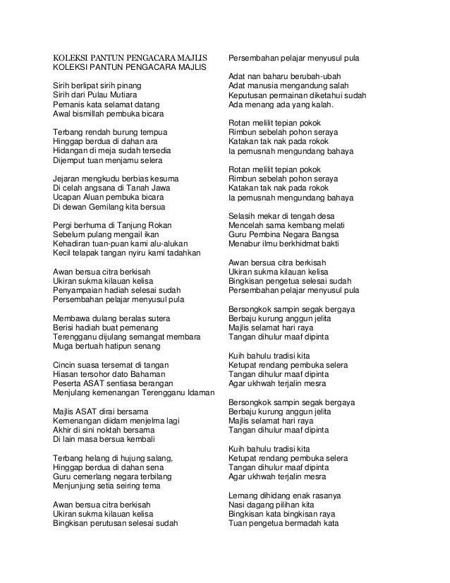 KOLEKSI PANTUN PENGACARA MAJLIS KOLEKSI PANTUN PENGACARA MAJLIS Sirih berlipat sirih pinang Sirih dari Pulau Mutiara Peman...