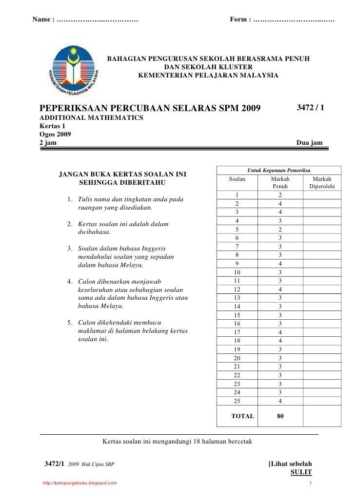 Jawapan Soalan Spm Add Math 2019 - Kuora q