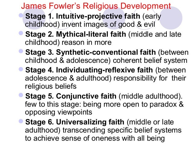 "james fowler faith development stages Fowler's faith development model fowler's faith development model has seven stages based on the developmental models of piaget, erikson and kohlberg and other theorists (see fowler, 1991 fowler, 2000 fowler, 2001 fowler, 2004) one of the most important characteristics of the model is fowler's definition of ""faith."