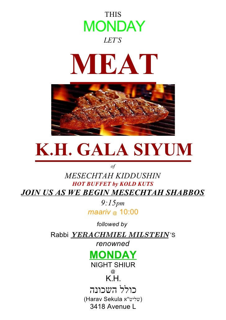 THIS              MONDAY                     LET'S             MEAT    K.H. GALA SIYUM                       of          M...