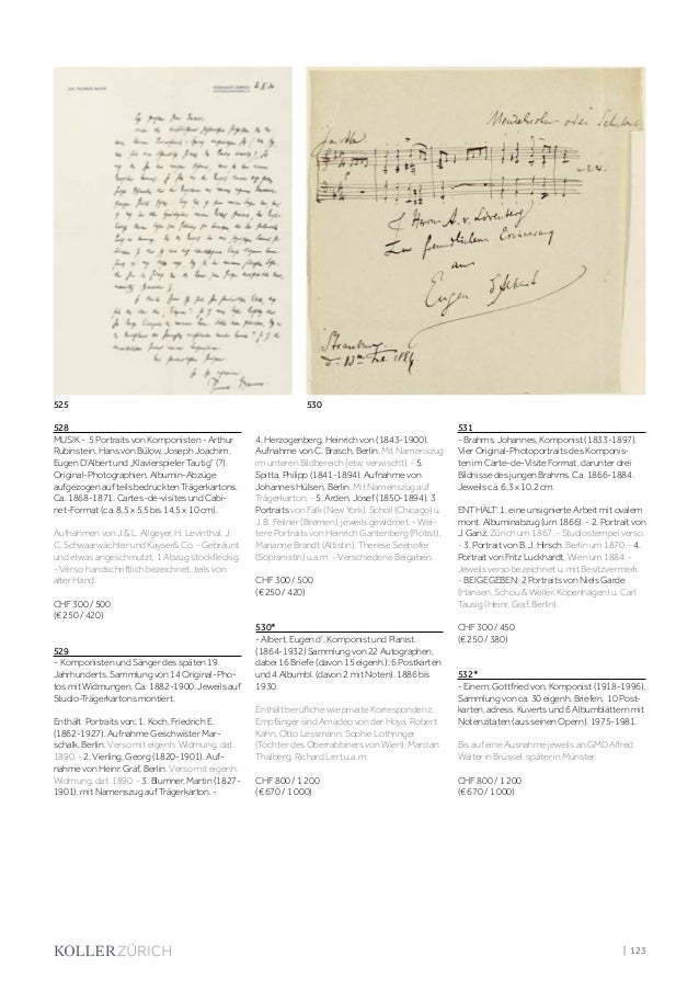Koller Autographen Manuskripte