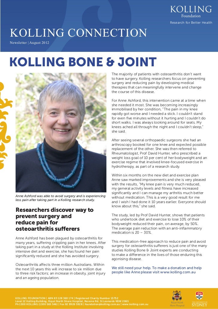 Research for Better HealthKOLLING CONNECTIONNewsletter | August 2012KOLLING BONE & JOINT                                  ...