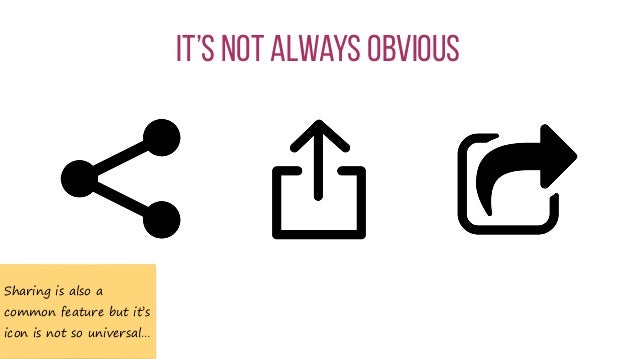 It's not always obvious Sharing is also a common feature but it's icon is not so universal…