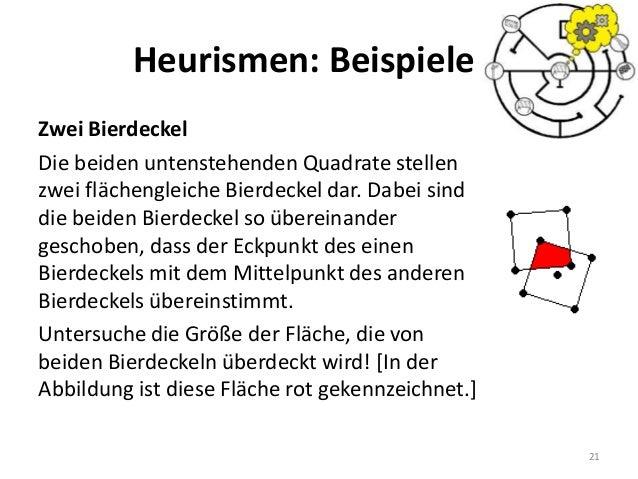 Heurismen: Beispiele Zwei Bierdeckel Die beiden untenstehenden Quadrate stellen zwei flächengleiche Bierdeckel dar. Dabei ...