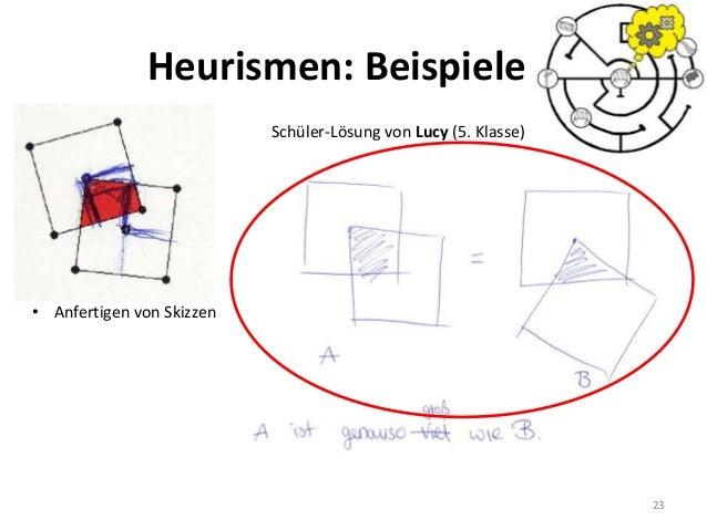 23 Schüler-Lösung von Lucy (5. Klasse) • Anfertigen von Skizzen Heurismen: Beispiele