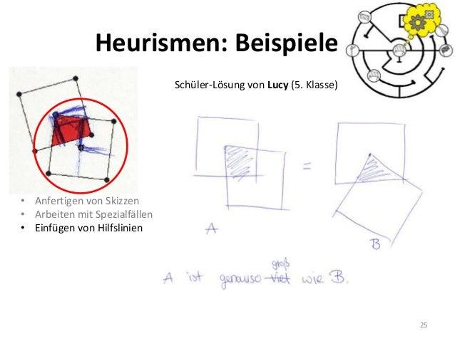25 Schüler-Lösung von Lucy (5. Klasse) • Anfertigen von Skizzen • Arbeiten mit Spezialfällen • Einfügen von Hilfslinien He...