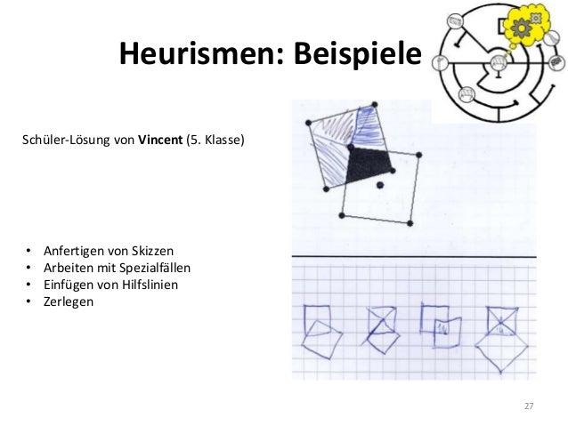 27 Schüler-Lösung von Vincent (5. Klasse) • Anfertigen von Skizzen • Arbeiten mit Spezialfällen • Einfügen von Hilfslinien...