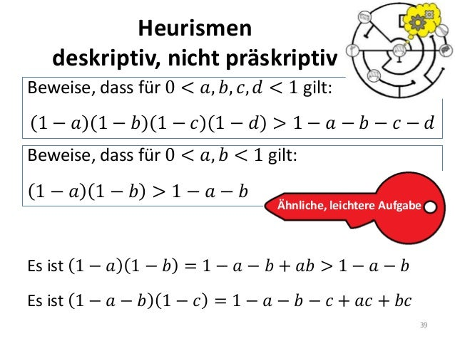Heurismen deskriptiv, nicht präskriptiv 39 Beweise, dass für 0 < 𝑎, 𝑏, 𝑐, 𝑑 < 1 gilt: 1 − 𝑎 1 − 𝑏 1 − 𝑐 1 − 𝑑 > 1 − 𝑎 − 𝑏 ...