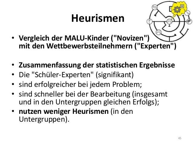 """Heurismen 45 • Vergleich der MALU-Kinder (""""Novizen"""") mit den Wettbewerbsteilnehmern (""""Experten"""") • Zusammenfassung der sta..."""