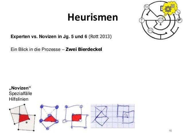 """Heurismen 46 Experten vs. Novizen in Jg. 5 und 6 (Rott 2013) Ein Blick in die Prozesse – Zwei Bierdeckel """"Novizen"""" Spezial..."""