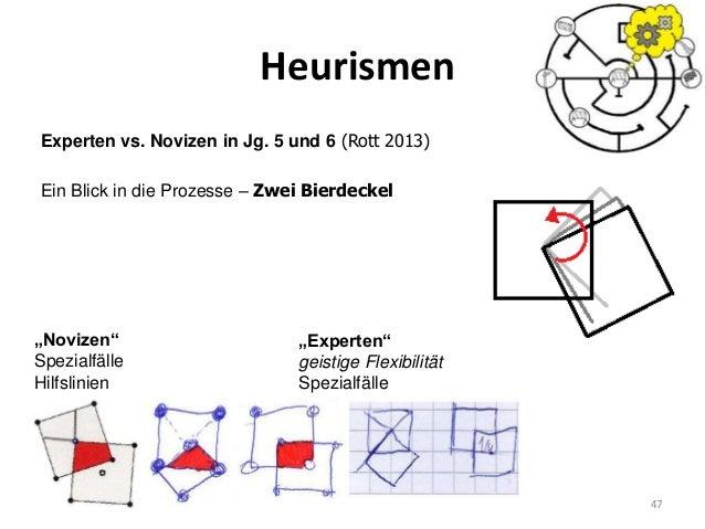 """Heurismen 47 Experten vs. Novizen in Jg. 5 und 6 (Rott 2013) Ein Blick in die Prozesse – Zwei Bierdeckel """"Novizen"""" Spezial..."""