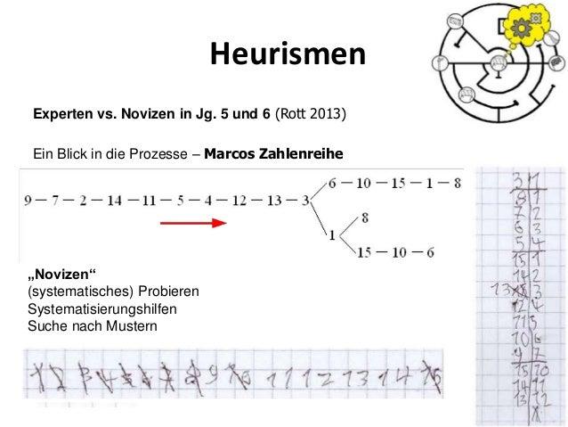"""Heurismen 48 Experten vs. Novizen in Jg. 5 und 6 (Rott 2013) Ein Blick in die Prozesse – Marcos Zahlenreihe """"Novizen"""" (sys..."""