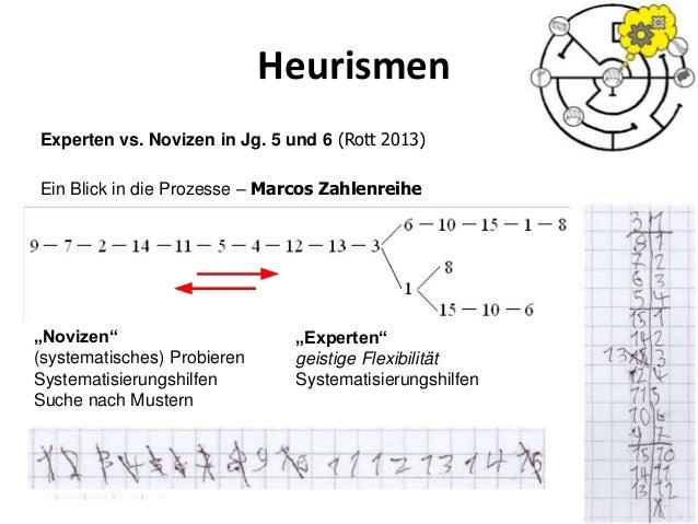 """Heurismen 49 Experten vs. Novizen in Jg. 5 und 6 (Rott 2013) Ein Blick in die Prozesse – Marcos Zahlenreihe """"Novizen"""" (sys..."""