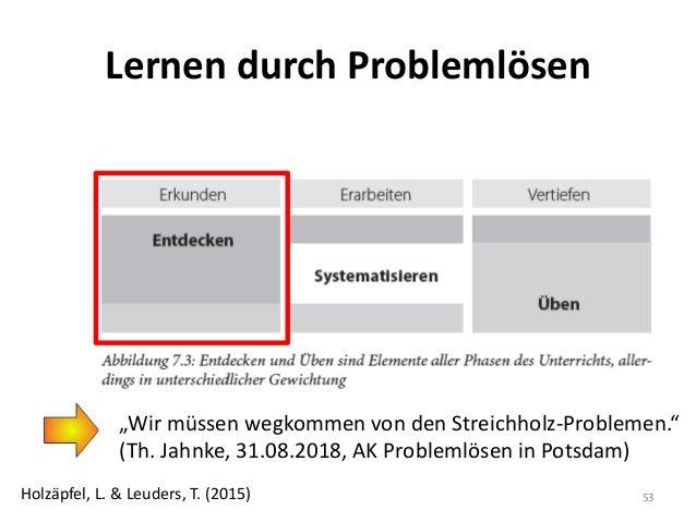 """Lernen durch Problemlösen 53Holzäpfel, L. & Leuders, T. (2015) """"Wir müssen wegkommen von den Streichholz-Problemen."""" (Th. ..."""