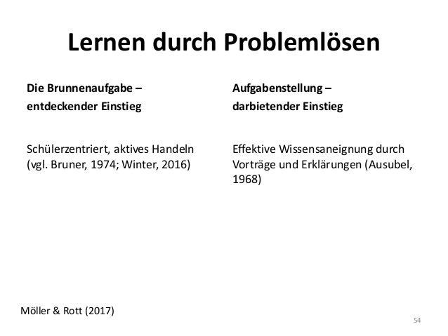 Lernen durch Problemlösen Aufgabenstellung – darbietender Einstieg Effektive Wissensaneignung durch Vorträge und Erklärung...