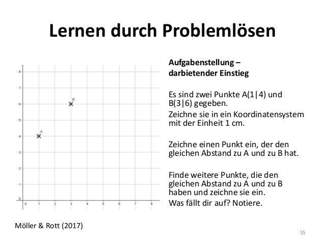 Lernen durch Problemlösen Aufgabenstellung – darbietender Einstieg Es sind zwei Punkte A(1|4) und B(3|6) gegeben. Zeichne ...