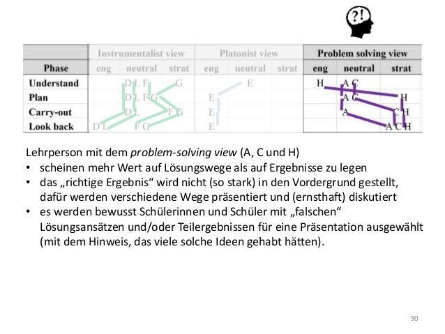 90 Lehrperson mit dem problem-solving view (A, C und H) • scheinen mehr Wert auf Lösungswege als auf Ergebnisse zu legen •...