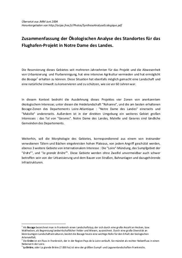 Übersetzt aus JMM Juni 2004Heruntergeladen von http://acipa.free.fr/Photos/SyntheseAnalyseEcologique.pdfZusammenfassung de...