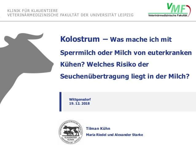 KLINIK FÜR KLAUENTIERE VETERINÄRMEDIZINISCHE FAKULTÄT DER UNIVERSITÄT LEIPZIG Tilman Kühn Maria Riedel und Alexander Stark...