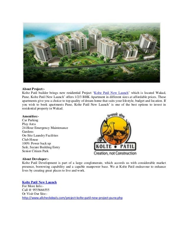 new car launches in puneKolte Patil New Launch  New Housing Project At Wakad Pune Call 95556
