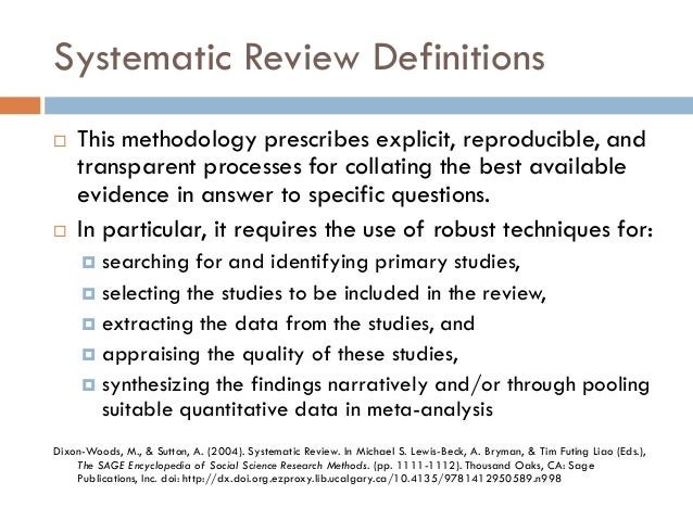 Systematic Review Resources: Systematic Review Overview