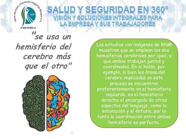"""""""se usa un hemisferio del cerebro más que el otro"""" Los estudios con imágenes de RNM muestran que se emplean los dos hemisf..."""