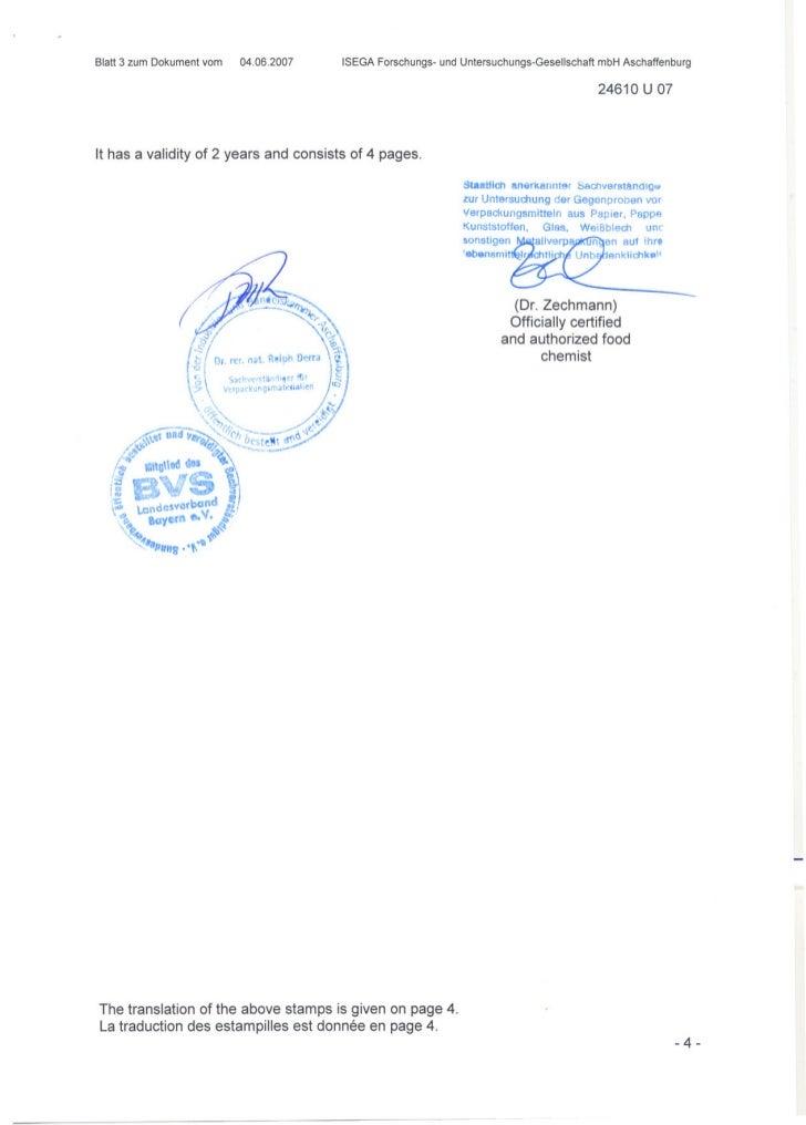 Komadur pvc u sheet certificate of conformity (food safe)