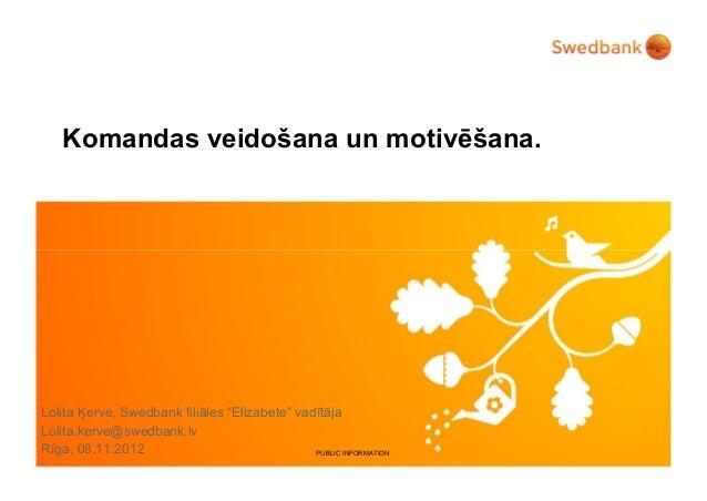 """Komandas veidošana un motivēšana.Lolita Ķerve, Swedbank filiāles """"Elizabete"""" vadītājaLolita.kerve@swedbank.lvRīga, 08.11.2..."""
