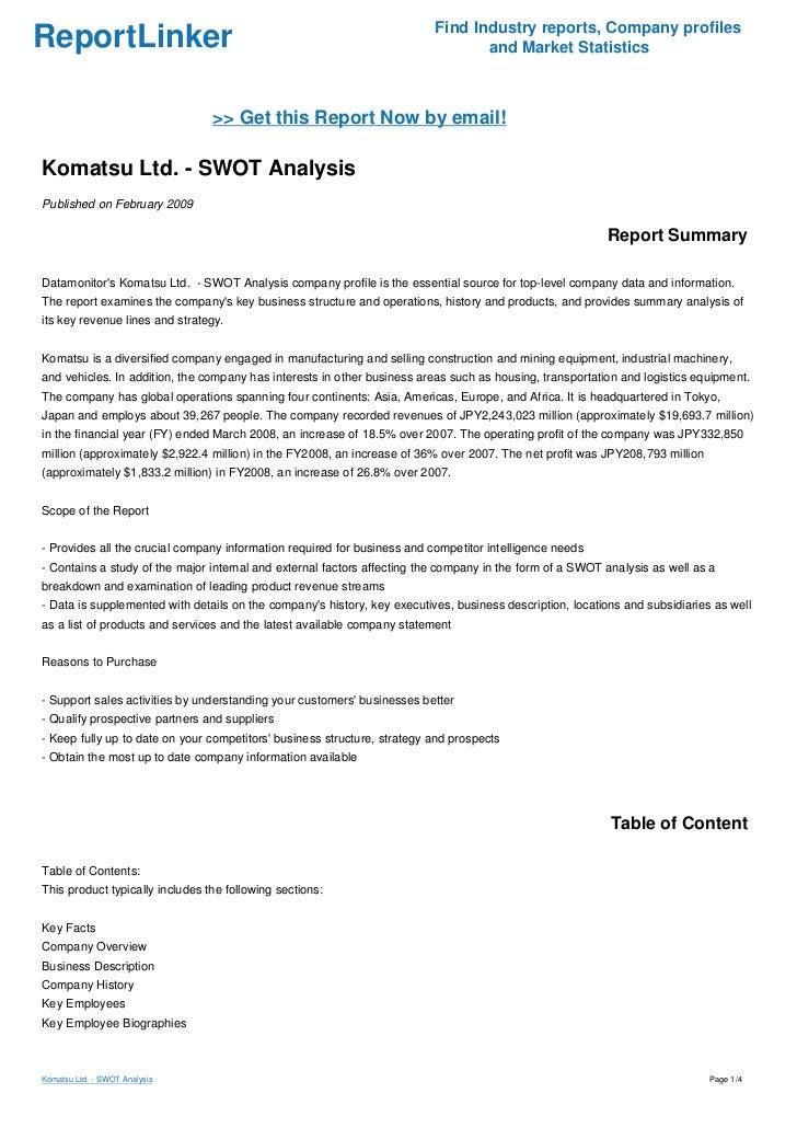 Komatsu corporation strengths and weaknesses