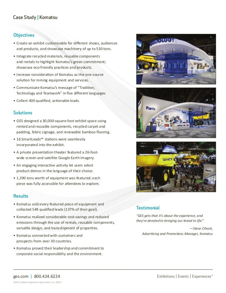 komatsu case study Anytime your machines are not operational and suffering any degree of downtime, you as a business are losing efficiency fuelactive® seeks to eliminate this concern.