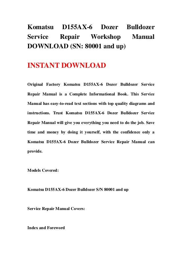 download komatsu d155ax 5 d155 dozer bulldozer service repair shop manual