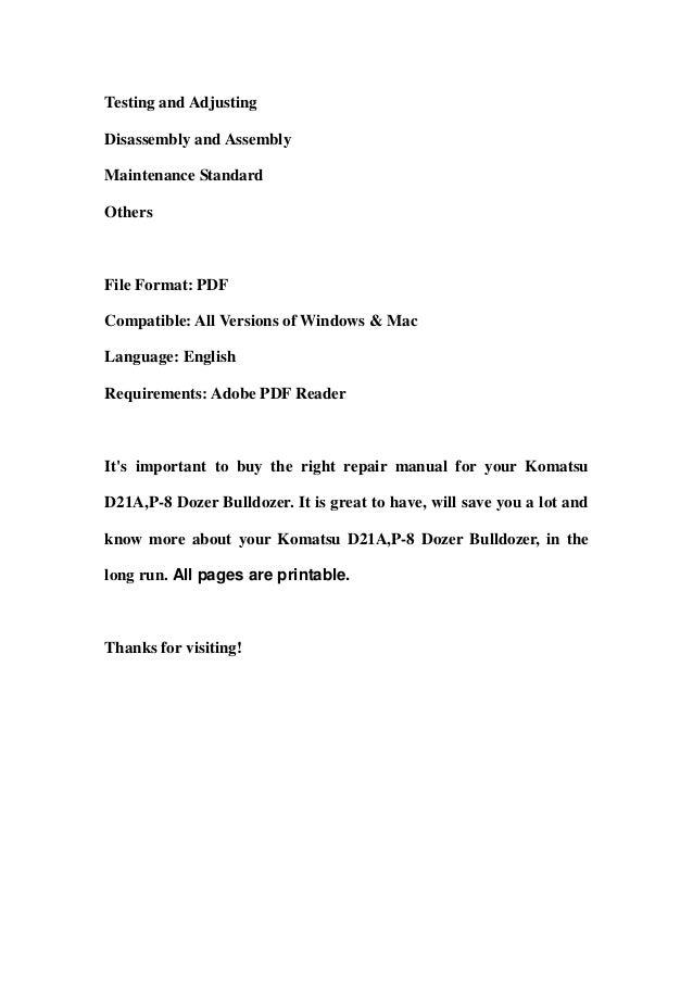 Komatsu d21 a,p 8 dozer bulldozer service repair workshop manual down…